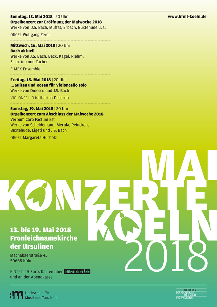 MAIKONZERTE KOELN 2018  BACH AKTUELL